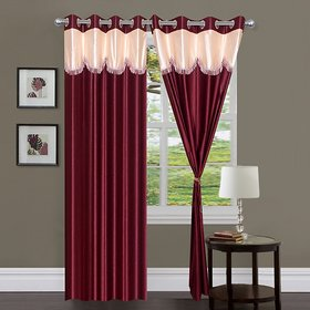 Geonature Maroon 4 U Polyster Door Curtains Set Of 2 Size 4x7 (A-2C7F56)