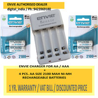 AA RECHARGEABLE BATTERY 2100 MAH 1.2 V NIMH 4 PCS. + ECR20 CHARGER FOR AA/AAA