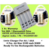 AA RECHARGEABLE BATTERY 2100 MAH 1.2V NIMH RTU 4PCS. + ECR20 CHARGER