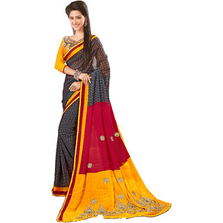 Khushali Presents Embroidered Chiffon Half  Half Saree(Grey,Red,Yellow) YNHWB20496