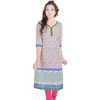 Rangeelo Rajasthan Womens Printed Straight Cotton kurti-RAR129GREEN