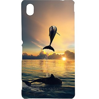Casotec Dolphins Pattern Print Design Hard Back Case Cover for Sony Xperia M4 Aqua
