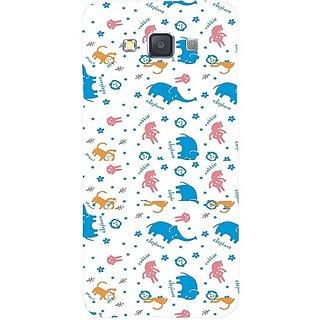 Casotec Elephant Monkey Rabbit Pattern Print Design Hard Back Case Cover for Samsung Galaxy A5