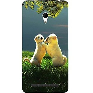 Casotec Puppy Couple Play Kids Nature Design Hard Back Case Cover for Asus Zenfone 6