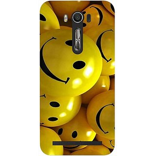Casotec Smiles Smile Yellow Design Hard Back Case Cover for Asus Zenfone 2 laser ZE500 KL