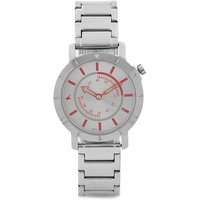Round Dial Silver Metal Strap Mens Quartz Watch