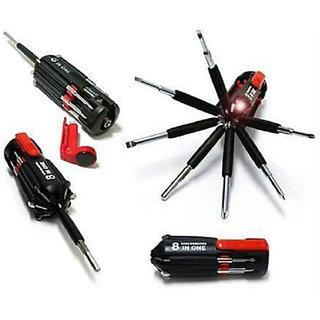 8 in 1 Multi-function Screwdriver Kit -Tool Kit Set + 6 LED light Torch
