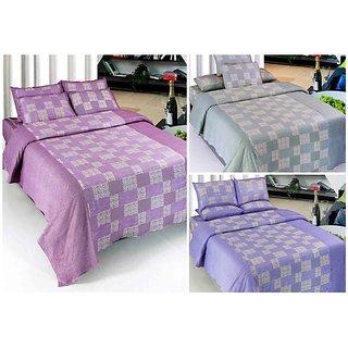 k decor set of 3 cotton double bedsheets(tc3-001)