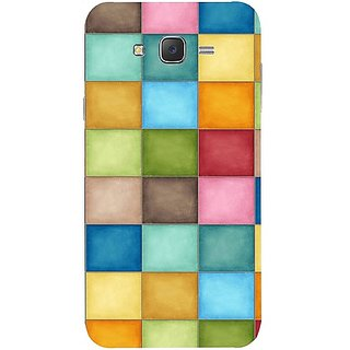Casotec Coloufull Square Design Hard Back Case Cover for Samsung Galaxy J7