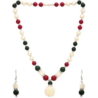 WHITE ,GREEN N RED PEARL NECKLACE SET