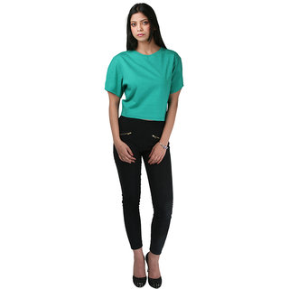 Hypernation Round Neck Green Color With Cotton T-shirt For Women