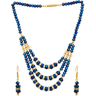 CZ,BLUE N BLACK STONE WITH GOLD PLATED PEARL THREE LEYRED NECKLACE SET