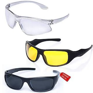 d1ca60638912 Pack of 3 Day Night Vision Riding glasses Anti Scratch Coated driving  glasses