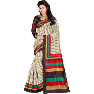 Prafful Cream Silk Printed Saree With Blouse