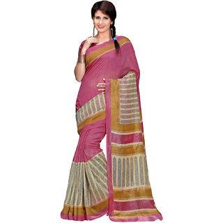 Prafful Cream-Pink Bhagalpuri Silk Botanical Printed Festive Wear Saree