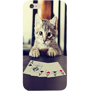 Casotec Kitten Playing Cards Design Hard Back Case Cover for Apple iPhone 6 Plus / 6S Plus
