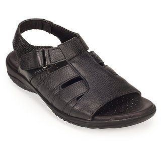 Khadims Mens British Walkers Black Leather Sandal