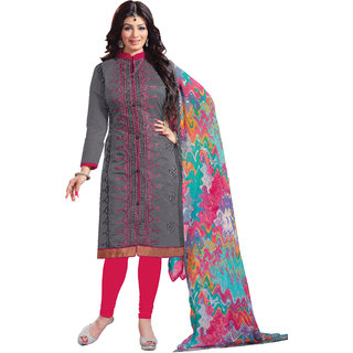Khushali Embroidered Chanderi Dress Material (Grey,Rani)