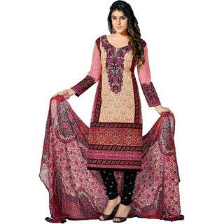 Khushali Cotton Dress Material (Beige,Multi,Black)