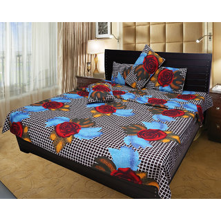Akash Ganga 100 Cotton Double Bedsheet with 2 Pillow Covers (KM548)