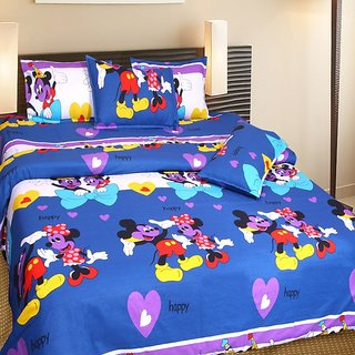 Akash Ganga Blue (Micky Mouse) Cotton Double Bedsheet with 2 Pillow Covers
