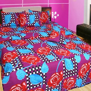 Akash Ganga Multi-Coloured Cotton Double Bedsheet with 2 Pillow Covers (KM557)