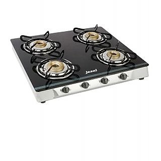 Jazel Sparkle 4 Burner Cooktop Stainless Body With Toughened Glass (Non Auto )