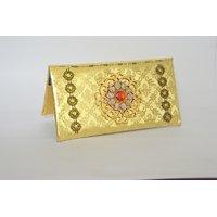 Designer Plastic Golden Wedding Envelope