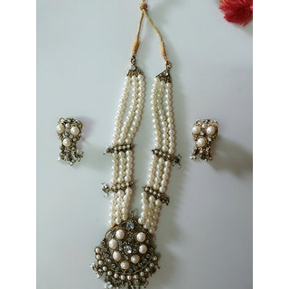 Rani har with white pearl necklace set