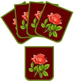 Mesleep Red Pink Rose Sofa Cover Set Of 5