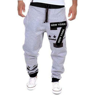 Trendyz Mens Grey & Black Track Pant With Zipper Pockets