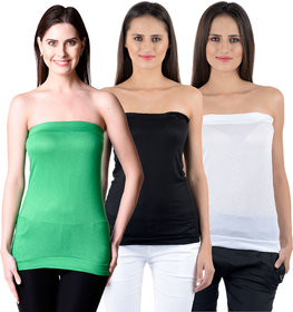 NumBrave Womens Green, Black, White Tube Top (Combo of 3)