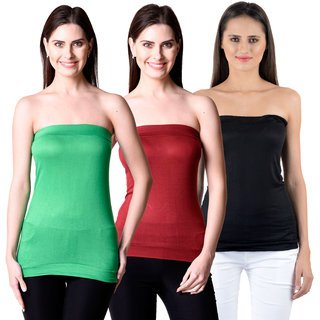NumBrave Womens Green, Maroon, Black Tube Top (Combo of 3)