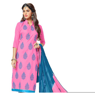 Khushali Embroidered Cotton Dress Material (Light Pink,Sky Blue)