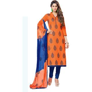 Khushali Embroidered Cotton Dress Material (Orange,Blue)