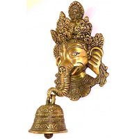 Kartique Brass Ganesha Face Wall Hanging  With Bell On Trunk