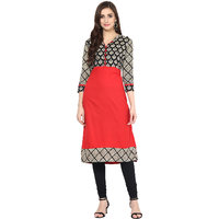 Prakhya Printed Womens Long straight cotton kurta-SW866RED