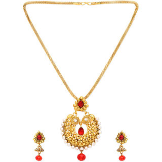 Beautiful Gold Plated with pearl n Red Stone Necklace Set