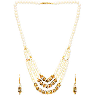 White Pearl CZ Silver with Golden Ring Necklace Set