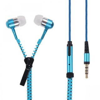 Kewin Sports Stereo Earphone Zipper Type (Colour Blue/May Very Any One)
