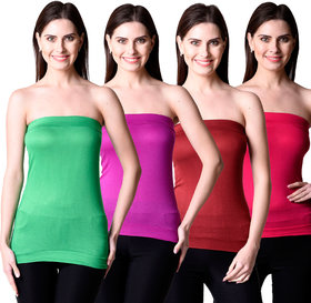NumBrave Womens Green, Purple, Maroon, Red Tube Top (Combo of 4)