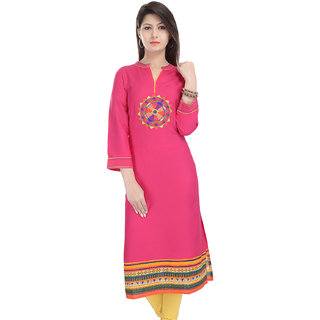 Prakhya Embroidered Womens Long straight Rayon kurta-SW868PINK