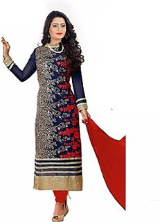Aaina Blue  Red Embroidered Chiffon Dress Material (SB-3142) (Unstitched)