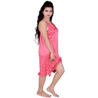Kismat Fashion Pink Satin Short Nighty Kn12