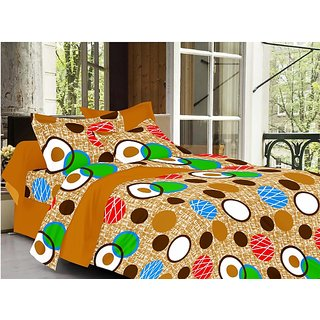 Valtellina Circle Design Brown Color TC-200 Double bedsheet  2 Pillow cover