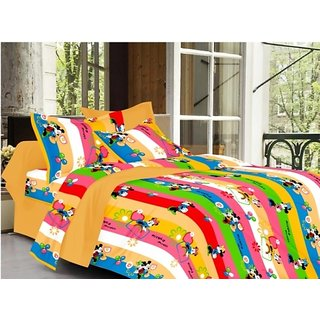 Valtellina Cartoon Design Multi Color TC-200 Double bedsheet  2 Pillow cover