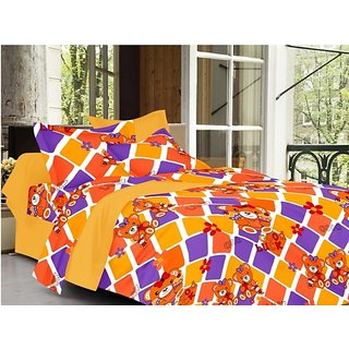 Valtellina Cartoon Design Brown Color TC-200 Double bedsheet  2 Pillow cover