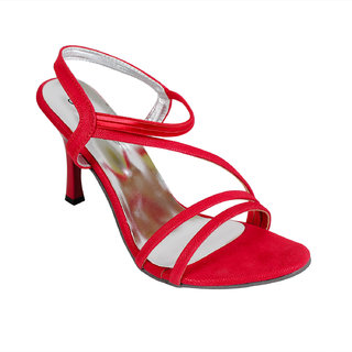 Bellafoz Red  heeled sandals