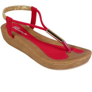 Bellafoz Red  heeled sandals