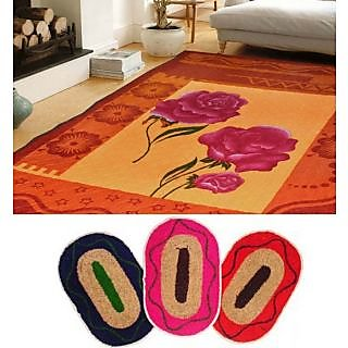 iLiv Combo Of Quilted Carpet With 3 Mats